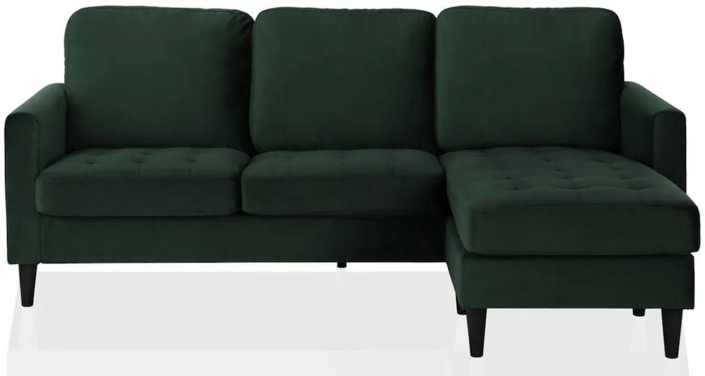 green sofa with chaise